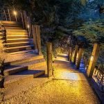 landscaped lighted path and walkway