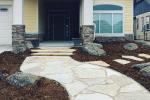 Flagstone path hardscaping built by professional landscaping contractor in fort collins, co