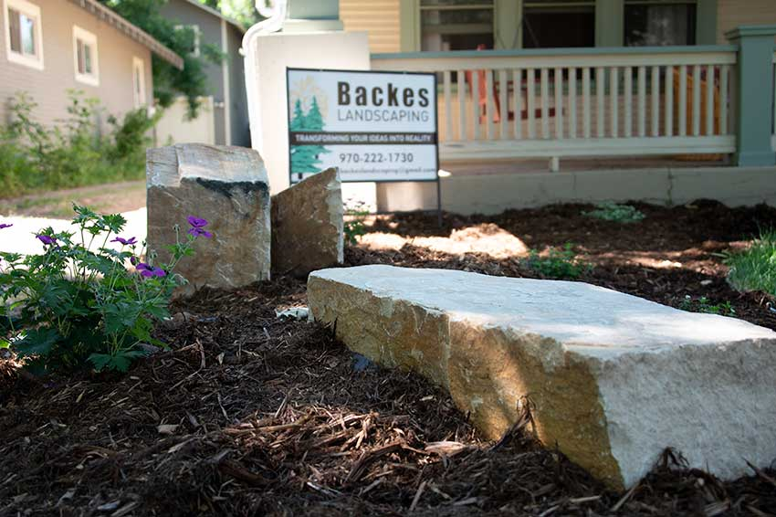Walkway to front door on pathway built by Fort Collins landscaping contractor Backes Landscaping