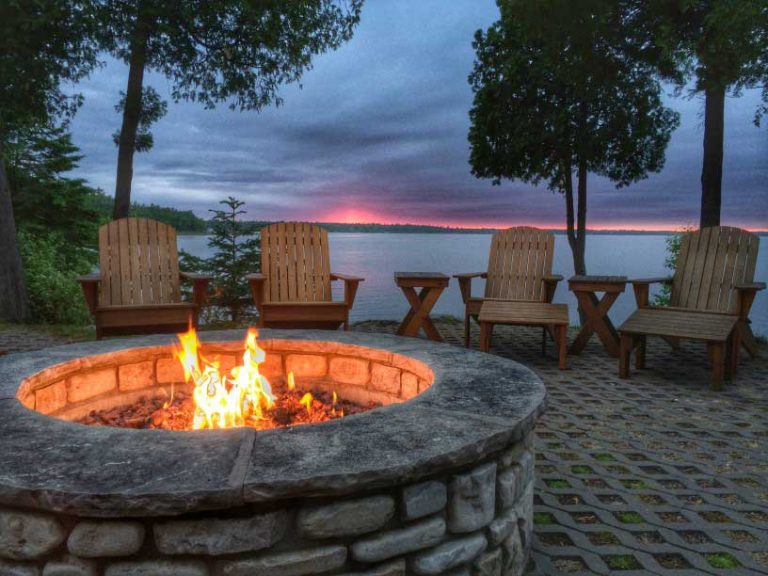 Fire pit next to a lake in Colorado