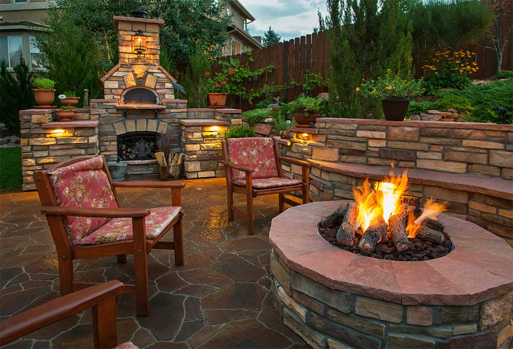 backyard fireplace and fire pit in fort collins