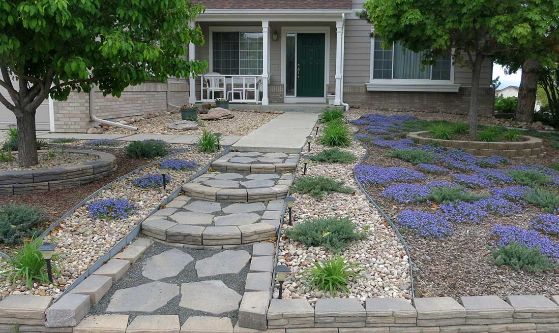 xeriscaped front yard in fort collins